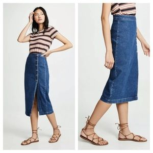 Free People Jasmine Buttoned Midi Denim Skirt